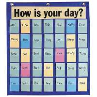 Behavioral Pocket Chart,35 Pockets,18-1/2x21,Blue