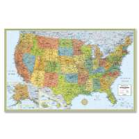 Deluxe United States Laminated Wall Map, 50x32