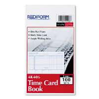 REDIFORM OFFICE PRODUCT Time Card Pads, For Daily Time/2 Page, 4-1/4x7, Manila-4K406