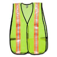 Pocketed Vest, Mesh, w/ Reflective Silver Tape, Lime/Orange