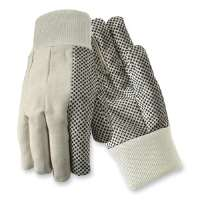 Natural Cotton Gloves,w/Dots On Palm/Thumb/Forefinger,Large