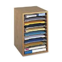 Safco Wood Vertical Desk Sorter - Medium Oak (9419MO)