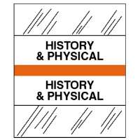 Medical Chart Tabs, History/Physical, 100/PK, Orange Edge