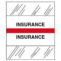 Medical Chart Tabs, Insurance, 100/PK, Red Edge
