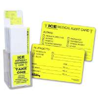 Emergency Information Cards, ICE, 25/PK, Fluorescent Yellow