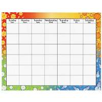 Wipe Off Blank Calendar, Trimmed W/Seasonal Symbols, 28x22