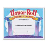 Honor Roll Award Certificate,F/ 3rd to 8th Grade,8-1/2x11