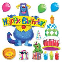 TREND ENTERPRISES Birthday Bulletin Board Set, Fury Friend, Multi