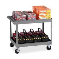 2-Shelf Service Cart, 36x24x32, Medium Gray