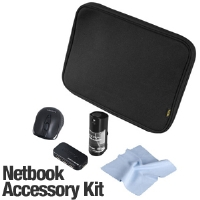 "Ultra Essentials Netbook Accessory Bundle - Up to 10.2"" Netbook Slip, 2.4GHz Wireless Optical Mouse, 4-Port USB 2.0 Hub, Screen Cleaning Gel w/ Microfiber Cloth"