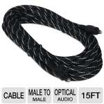 Ultra 15FT Male-to-Male Digital Optical Toslink Cable - 15FT, 4.6m, Male-to-Male