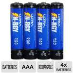 Ultra Ultimate N-RGY AAA Rechargeable Batteries - 4x Batteries, AAA, 900 mAH, Ni-MH