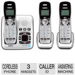 Uniden 3 Handset Cordless Phone - Single Line, LCD Display, Built-in Speakerphone, ECO Mode, Remote Message Retrieval, Digital Answering Machine, Caller ID, Wireless Network Friendly (D1484-3RB)