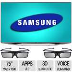 "Samsung 75"" 3D LED TV - 1080p, Web Browser, 4 x HDMI Ports, 3 x USB Ports - UN75H7150AFXZA"