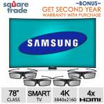 "Samsung UN78HU9000 78"" 4K Curved 3D Smart LED HDTV & Square Trade 2 Year Warranty"