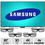 "Samsung 85"" 4K 3D SMART UHD TV - Ultra HD, 3840x2610 Resolution, 4x HDMI, WiFi, 4 Pairs of 3D Active Glasses - UN85HU8550"