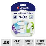 Store 'n' Go Swivel USB 2.0 Flash Drive, 8GB, Blue/Green/Violet, 3/Pack