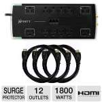 Ultra XFinity Home Theater 12-Outlet Surge Protector and 3 Ultra 6FT 3D-READY High Speed HDMI Cables Bundle