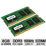 Crucial 8GB Notebook Memory -  DDR3L 1600 MT/s, Kit (4GBx2), SODIMM (PC3L-12800), 204-Pin - CT2KIT51264BF160B