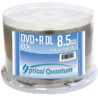 Optical Quantum OQPDPRDL08WIP DVD+R DL Spindle - 50 Pack, White Inkjet HUB Printable