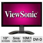 "ViewSonic VA1912m-LED 19"" Class Widescreen LED Monitor - 1366 x 768, 10000000:1 Dynamic, 5ms, VGA, DVI-D, Energy Star"