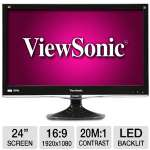 ViewSonic VX2450wm-LED 24&quot; Class Widescreen LED Backlit Monitor - 1080p, 1920x1080, 16:9, 1000:1 Native, 20000000:1 Dynamic, 5ms, VGA, DVI, Built-in Speakers, Tilt