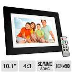 "Viewsonic 10.1"" Digital Photo Frame - TFT LCD, 1024x600 Resolution, 450:1 ContrastRatio, LED Backlight, USB 2.0, SD Slot Card, Remote Control - VFD1028W-11"