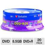 Verbatim 95310 20 Pack 2.4X DVD+R DL Spindle