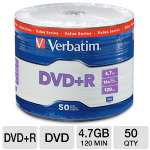 Verbatim DVD+R Life Series 97492 Blank Media - 16X, 4.7GB/120 Min, 50PK, Compatible with High-Speed Burners, Spindle