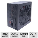 VisionTek 900346 ATX Power Supply - 500W, 120mm Fan, Dual +12V Rails - 900346