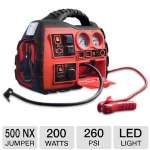 Wagan Power Dome NX 500 - Jumper, 200 Watt Inverter, 260 PSI Air Compressor, AM/FM Radio, USB Port, LED Light, Compact, Carry Handle  - 2485