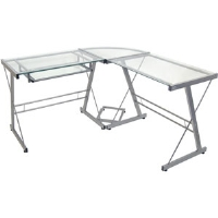 Walker Edison TD51L29 Glass Computer Desk -  Silver