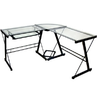Walker Edison TD51Z29 Glass Computer Desk - Black