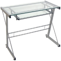 Walker Edison TD31S29 Glass Computer Desk - Silver