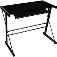 Walker Edison TD31S29B Glass Computer Desk - Black