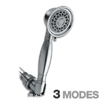 "Water Pik VAT-349 Design Essentials Handheld Shower Head - 3 Modes, 3.5"" Round Head, 5' Vinyl Hose, Spray Control Ring, Removable Flow Regulator, Brushed Nickel"