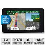 "Garmin n�vi� 3490LMT w/Global Traffic Manager - 4.3"" Dual-Orientation Touchscreen, Lane Assist, Voice-Activated Navigation, Spoken Street Names  Free Lifetime Map Updates (Refurbished) - 010N000900"