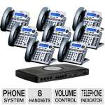 Xblue Networks X16 Digital Speakerphone System - 6 Lines, 2 Hours Of Message Storage, Titanium Metallic (8-Pack Bundle)