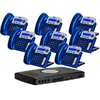 Xblue Networks X16 Digital Speakerphone System - 6 Lines, 2 Hours Of Message Storage, Vivid Blue (8-Pack Bundle)