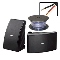 Yamaha NS-AW592BL All-Weather Speakers and Cable Bundle - Cables To Go 50-Foot 12 AWG Velocity Bulk Speaker Cable, Pair, Frequency Response 55 Hz�20 kHz, Mounting Brackets