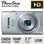 "Canon PowerShot ELPH 135 16 Megapixel Compact Camera - 2.7"" LCD, 8x Optical Zoom, Electronic (IS), 4608 x 3456 Image, 1280 x 720 Video, PictBridge, HD Movie Mode, Silver - 9153B001"