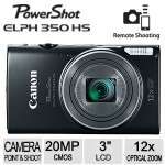 "Canon PowerShot ELPH 350 HS Camera - 12x Optical Zoom, 25-300mm, Built-in Wi-Fi, 20.2 Megapixel, 3"" LCD Screen, Black - 0154C001"