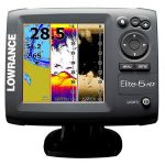 "Lowrance Elite-5 HDI - 5"" Screen, Gold with 83/200 kHz + 455/800 kHz Transducer, Hybrid Dual Imaging (HDI), Built-in GPS Antenna, Insight Genesis�, Multi-Window Displays -000-11171-001"
