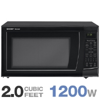 Sharp R-530EK Microwave Oven - 2.0 Cubic Ft Capacity, 1200 Watts, Keep Warm Plus, 13 Sensor Cook Settings, Black