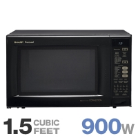 Sharp R-930AK Convection Microwave Oven - 1.5 Cubic Ft Capacity, 8 Sensor Cook Settings, CompuDefrost, Black