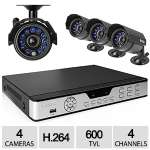 Zmodo 4CH 4CAM DVR Security System - H.264, 600 TVL, Weatherproof Cameras, Motion Detection, Remote View via 3G Mobile Phone - PKD-DK4216