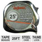 "E-Z Read Tape Measure, 1"" x 25', Steel Case, Chrome, 1/8"" Graduation"