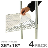 "Alera SW59SL3618 Shelf Liner - For Wire Shelving, 4 Pack, 36""x18"" Clear Plastic"