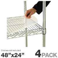 "Alera SW59SL4824 Shelf Liner - For Wire Shelving, 4 Pack, 48""x24"" Clear Plastic"