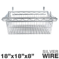 "Alera SW59WB1818SR Sliding Wire Basket - For Wire Shelving, 18""x18""x8"", Wire, Silver"